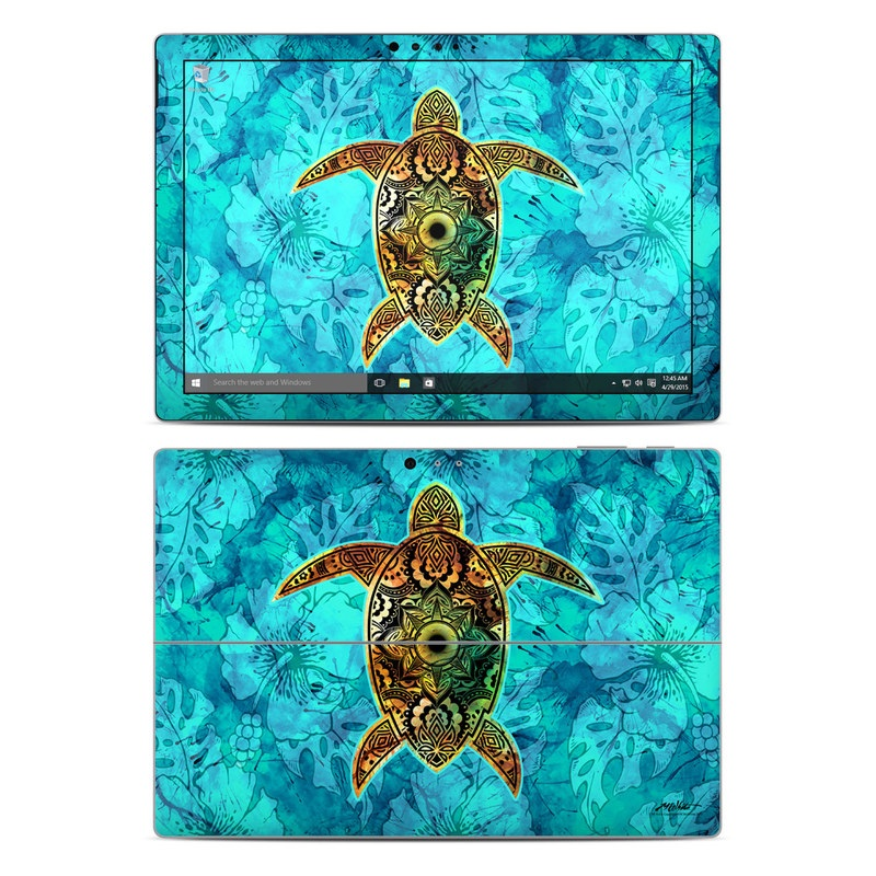 Microsoft Surface Pro 5, Pro 4 Skin design of Sea turtle, Green sea turtle, Turtle, Hawksbill sea turtle, Tortoise, Reptile, Loggerhead sea turtle, Illustration, Art, Pattern with blue, black, green, gray, red colors