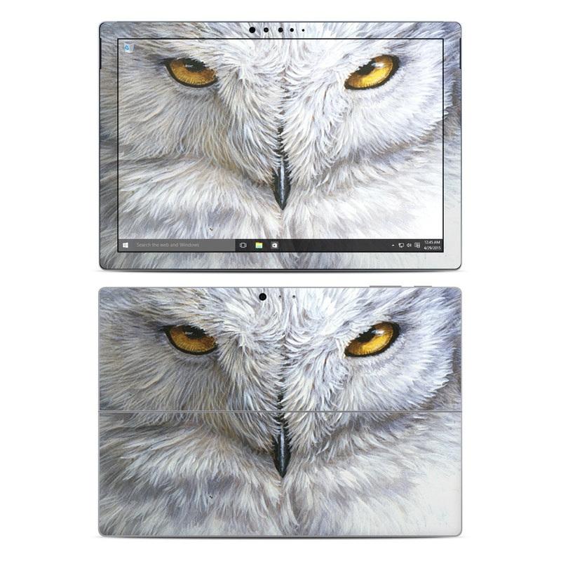 Microsoft Surface Pro 5, Pro 4 Skin design of Owl, Bird, Bird of prey, Snowy owl, great grey owl, Close-up, Eye, Snout, Wildlife, Eastern Screech owl with gray, white, black, blue, purple colors