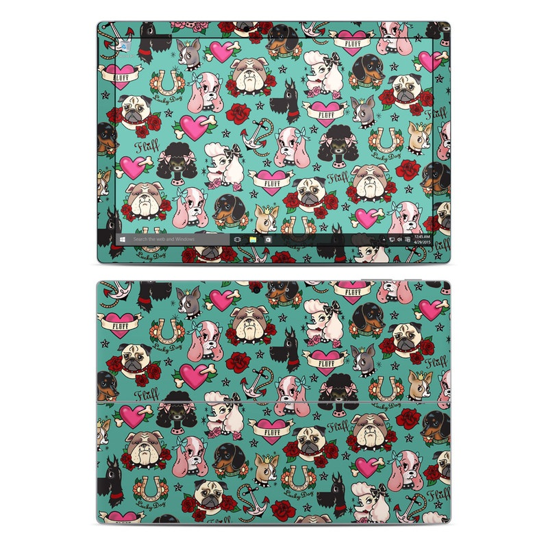 Microsoft Surface Pro 5, Pro 4 Skin design of Cartoon, Pattern, Illustration, Design, Crowd, Textile, Art with blue, brown, red, white, black, green, gray colors