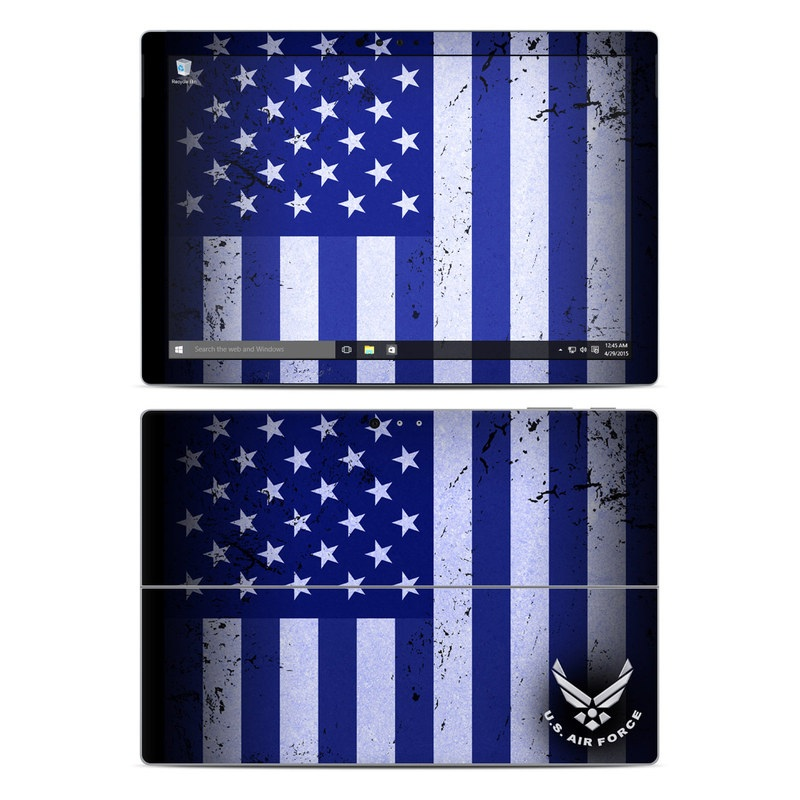 Microsoft Surface Pro 5, Pro 4 Skin design of Text, Font, Design, Pattern, Flag, Graphic design, Logo, Graphics, Illustration with black, gray, blue, purple colors