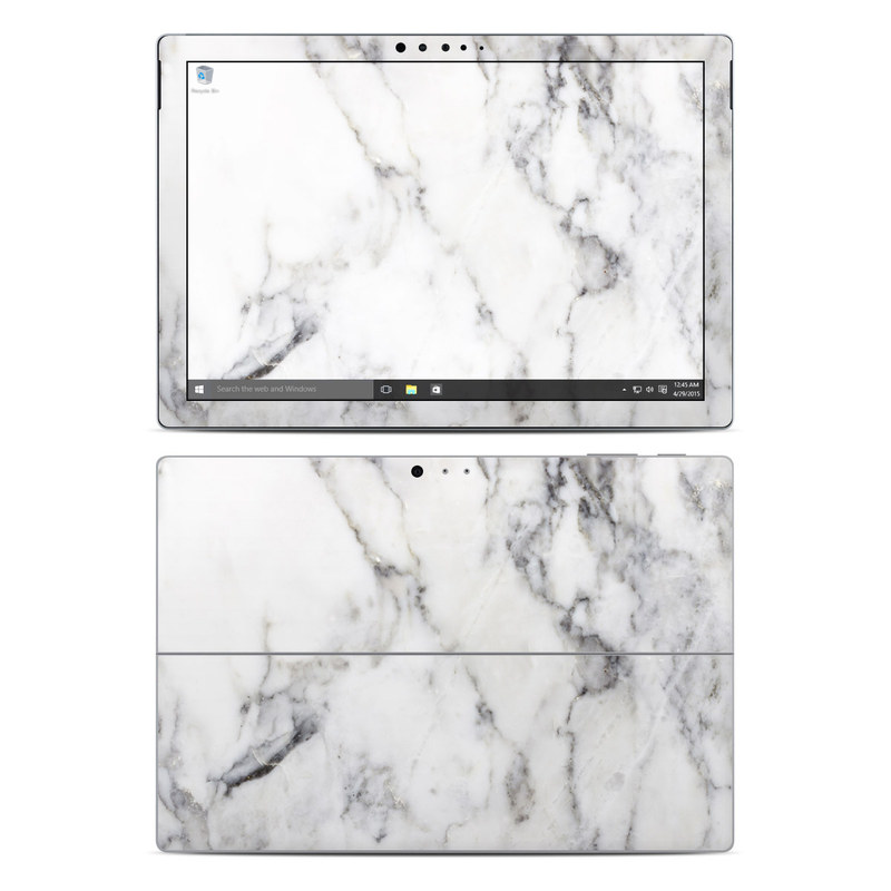 Microsoft Surface Pro 5, Pro 4 Skin design of White, Geological phenomenon, Marble, Black-and-white, Freezing with white, black, gray colors