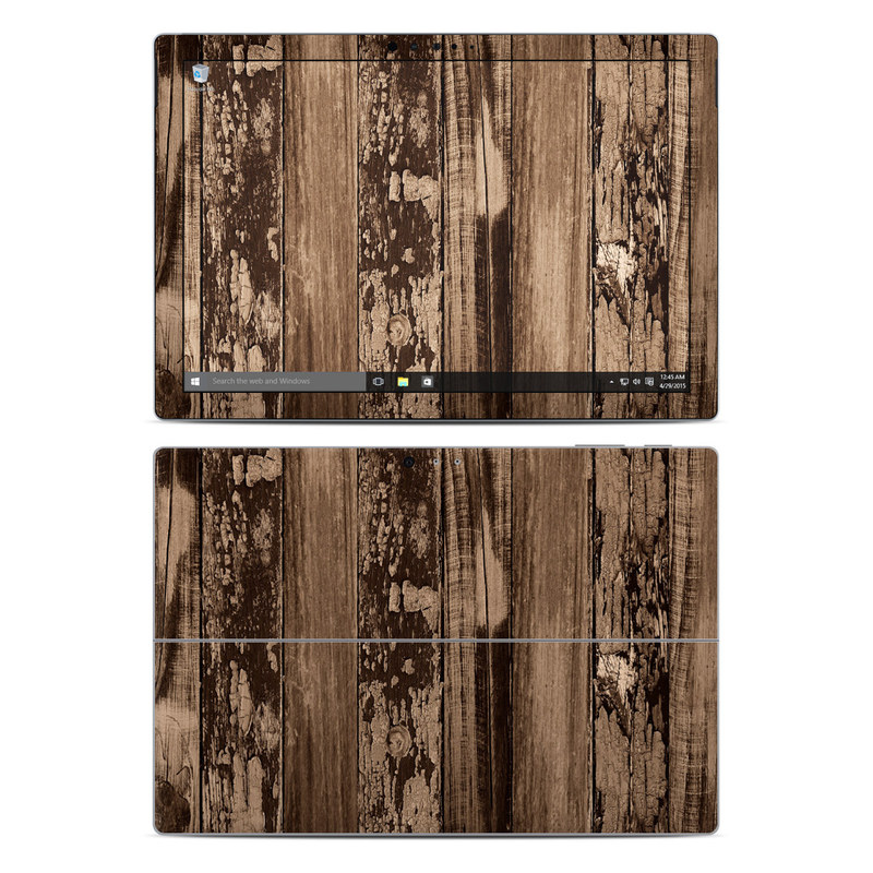 Microsoft Surface Pro 5, Pro 4 Skin design of Wood, Tree, Brown, Plank, Trunk, Pattern, Line, Hardwood, Black-and-white, Forest with brown, black colors