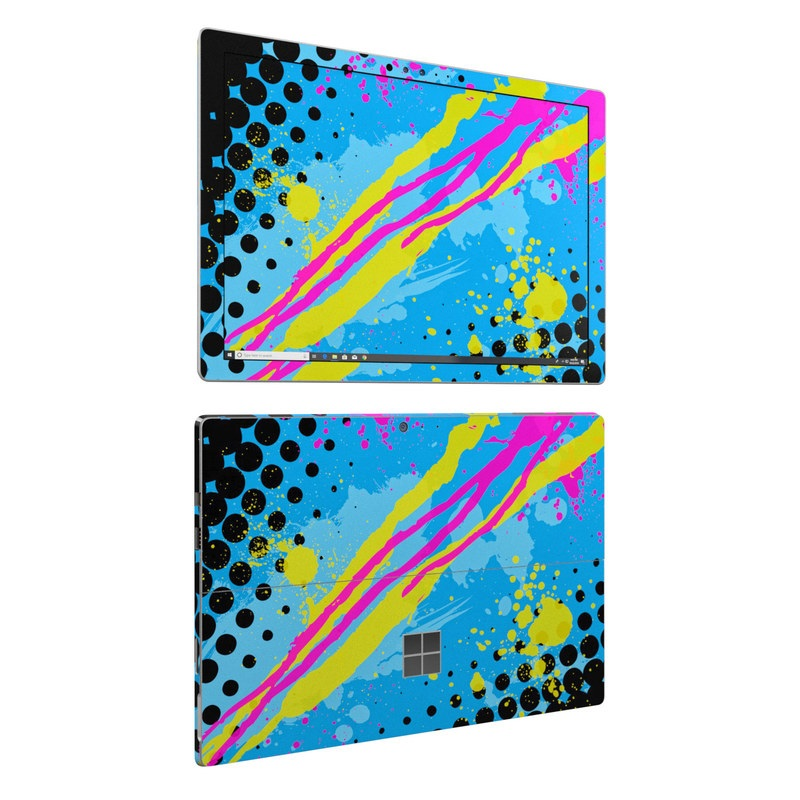 Microsoft Surface Pro 6 Skin design of Blue, Colorfulness, Graphic design, Pattern, Water, Line, Design, Graphics, Illustration, Visual arts with blue, black, yellow, pink colors
