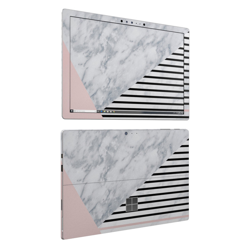 Microsoft Surface Pro 6 Skin design of White, Line, Architecture, Stairs, Parallel with gray, black, white, pink colors