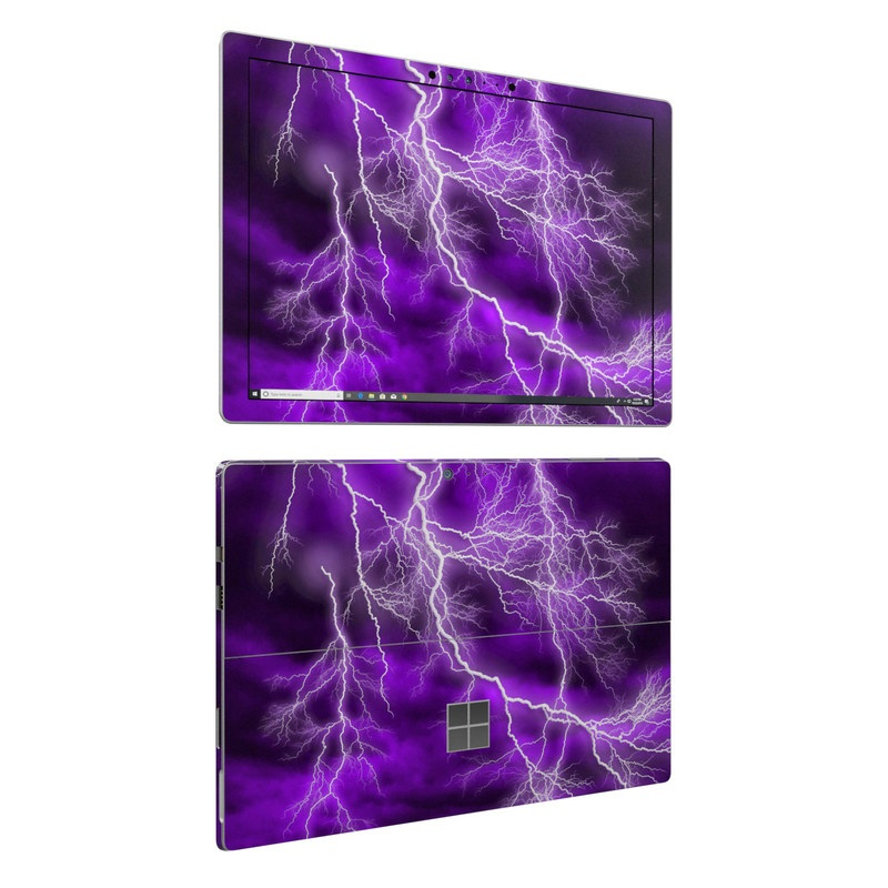 Microsoft Surface Pro 6 Skin design of Thunder, Lightning, Thunderstorm, Sky, Nature, Purple, Violet, Atmosphere, Storm, Electric blue with purple, black, white colors
