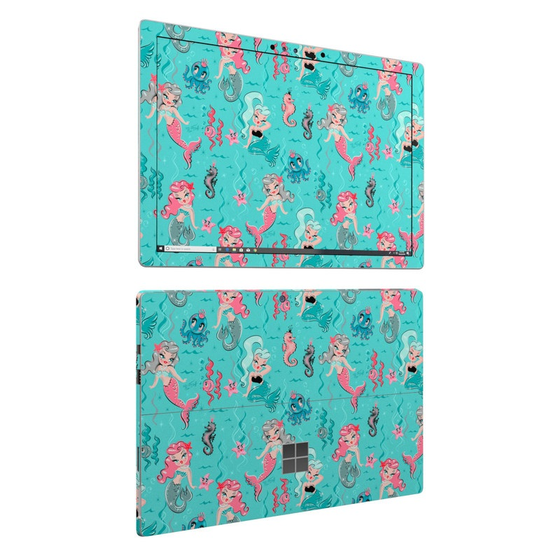 Microsoft Surface Pro 6 Skin design of Turquoise, Wrapping paper, Cartoon, Pattern, Textile, Aqua, Design, Gift wrapping, Illustration, Fictional character with blue, pink, yellow, gray colors