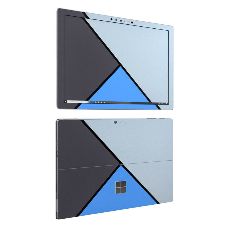 Microsoft Surface Pro 6 Skin design of Blue, Line, Cobalt blue, Triangle, Azure, Electric blue, Parallel, Symmetry, Font with blue, gray, black colors
