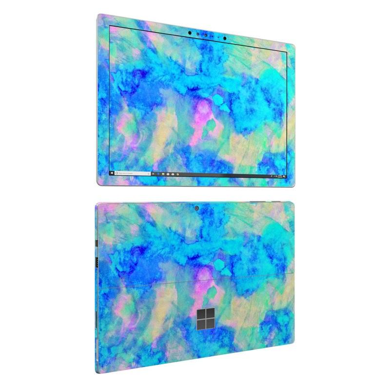 Microsoft Surface Pro 6 Skin design of Blue, Turquoise, Aqua, Pattern, Dye, Design, Sky, Electric blue, Art, Watercolor paint with blue, purple colors