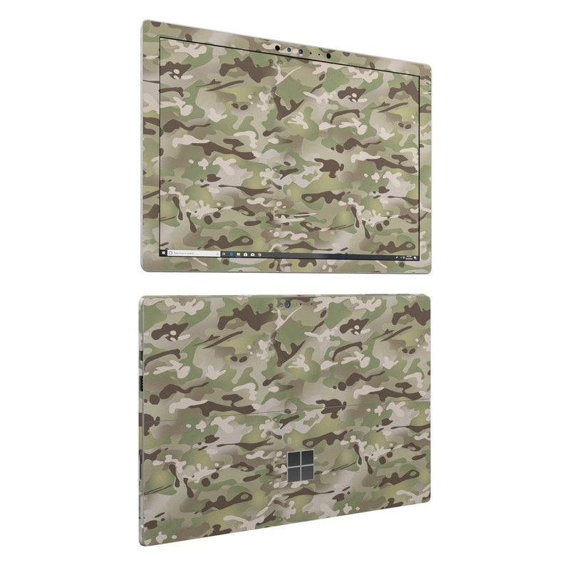 Microsoft Surface Pro 6 Skin design of Military camouflage, Camouflage, Pattern, Clothing, Uniform, Design, Military uniform, Bed sheet with gray, green, black, red colors