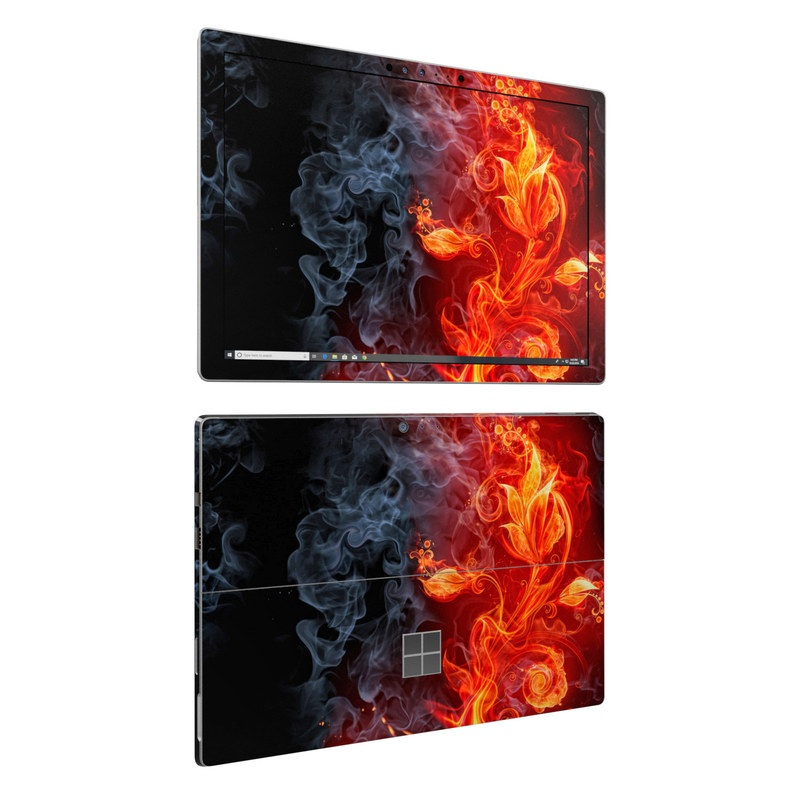 Microsoft Surface Pro 6 Skin design of Flame, Fire, Heat, Red, Orange, Fractal art, Graphic design, Geological phenomenon, Design, Organism with black, red, orange colors