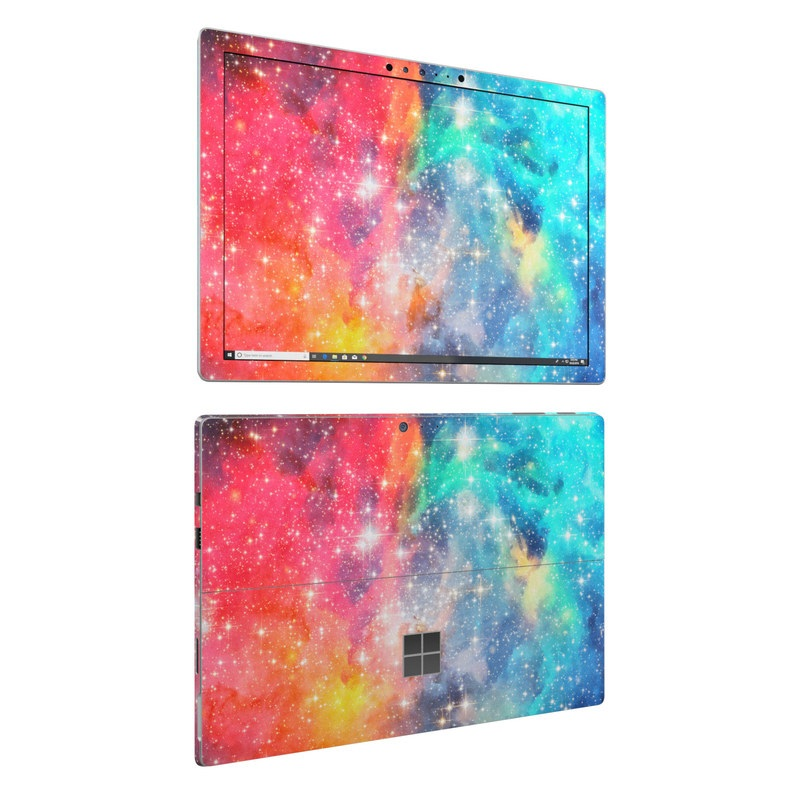 Microsoft Surface Pro 6 Skin design of Nebula, Sky, Astronomical object, Outer space, Atmosphere, Universe, Space, Galaxy, Celestial event, Star with white, black, red, orange, yellow, blue colors