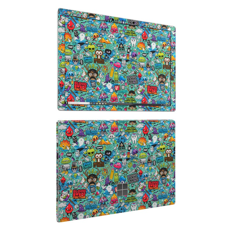 Microsoft Surface Pro 6 Skin design of Cartoon, Art, Pattern, Design, Illustration, Visual arts, Doodle, Psychedelic art with black, blue, gray, red, green colors