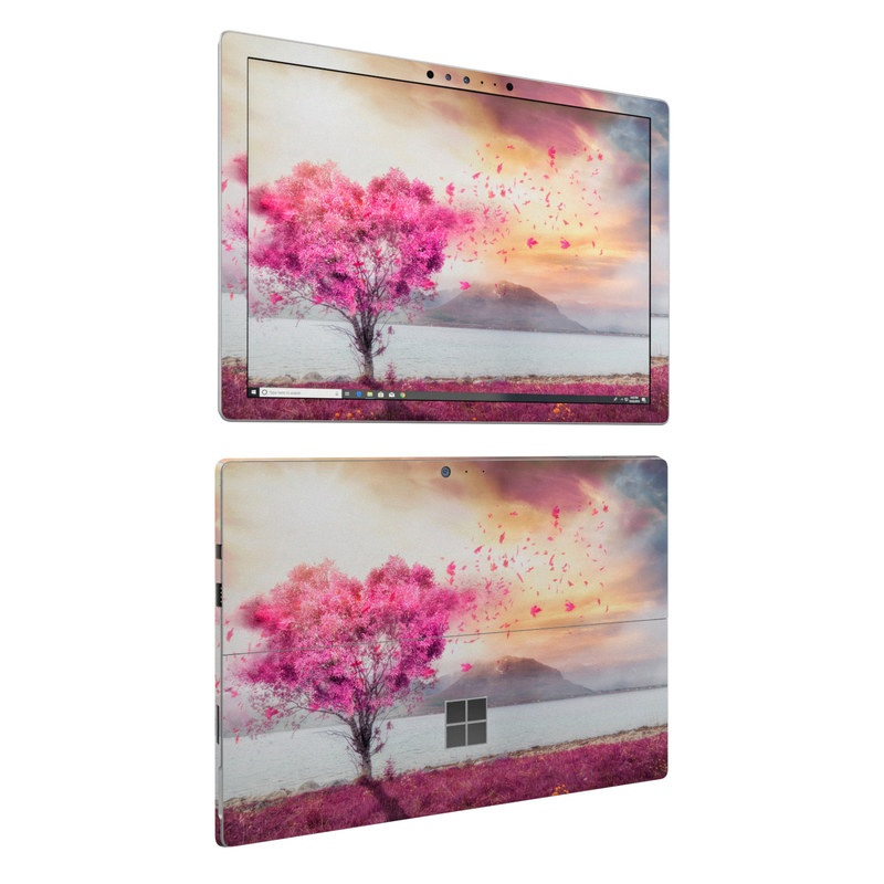 Microsoft Surface Pro 6 Skin design of Sky, Nature, Natural landscape, Pink, Tree, Spring, Purple, Landscape, Cloud, Magenta with pink, yellow, blue, black, gray colors