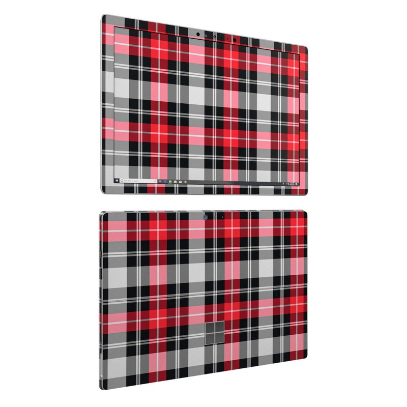 Microsoft Surface Pro 6 Skin design of Plaid, Tartan, Pattern, Red, Textile, Design, Line, Pink, Magenta, Square with black, gray, pink, red, white colors
