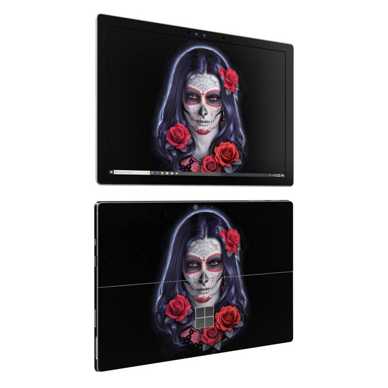 Microsoft Surface Pro 6 Skin design of Face, Red, Head, Skull, Illustration, Bone, Font, Darkness, Ghost, Fictional character with black, gray, red, blue colors