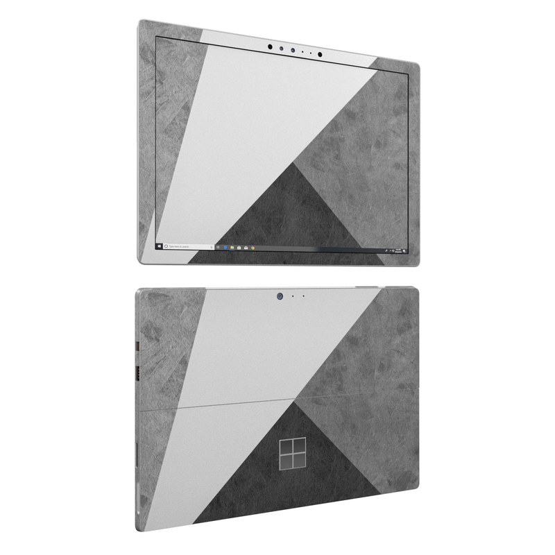 Microsoft Surface Pro 6 Skin design of Black, White, Black-and-white, Line, Grey, Architecture, Monochrome, Triangle, Monochrome photography, Pattern with white, black, gray colors
