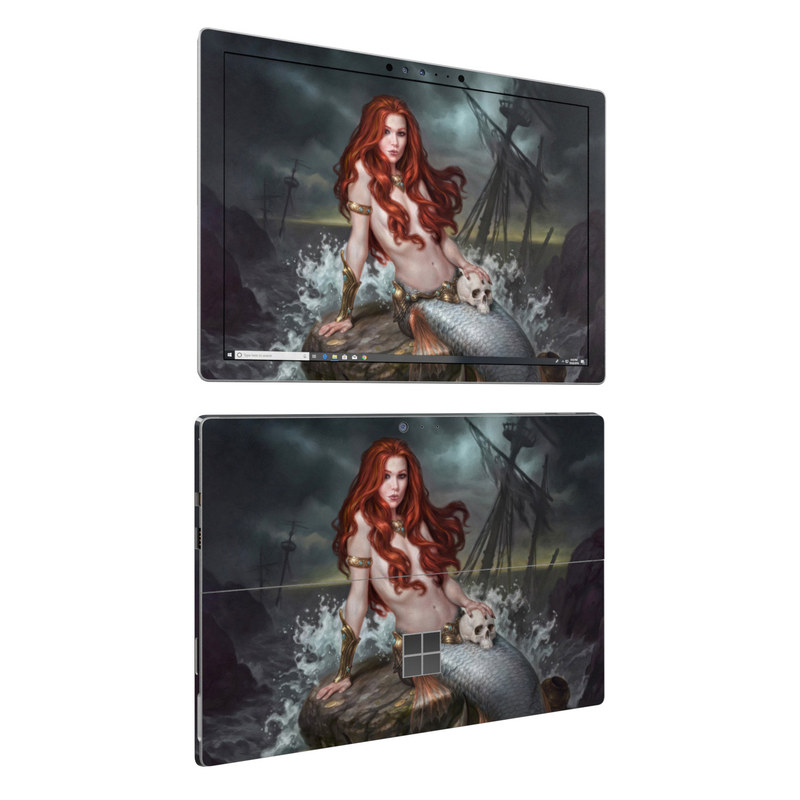 Microsoft Surface Pro 6 Skin design of Mermaid, Cg artwork, Illustration, Fictional character, Mythology, Mythical creature, Art, Long hair, Woman warrior, Sitting with black, brown, red, yellow, white, gray colors