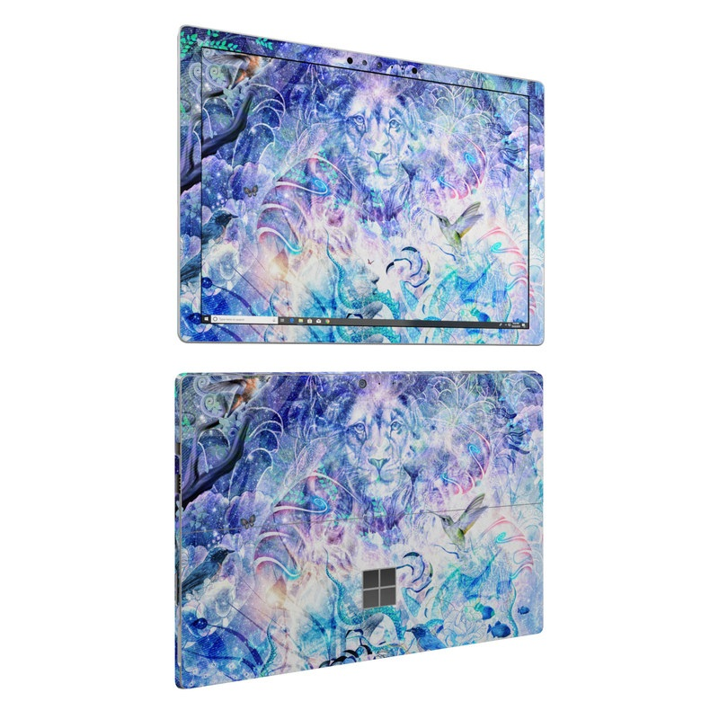 Microsoft Surface Pro 6 Skin design of Psychedelic art, Water, Fractal art, Art, Pattern, Graphic design, Design, Illustration, Electric blue, Visual arts with blue, purple, green, red, gray, white colors