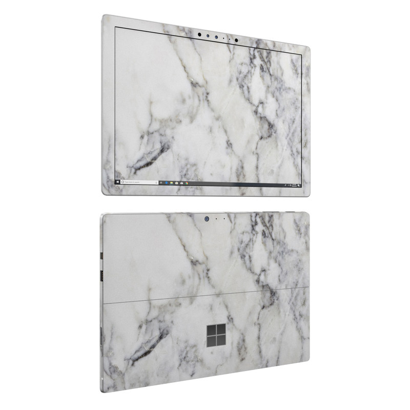 Microsoft Surface Pro 6 Skin design of White, Geological phenomenon, Marble, Black-and-white, Freezing with white, black, gray colors