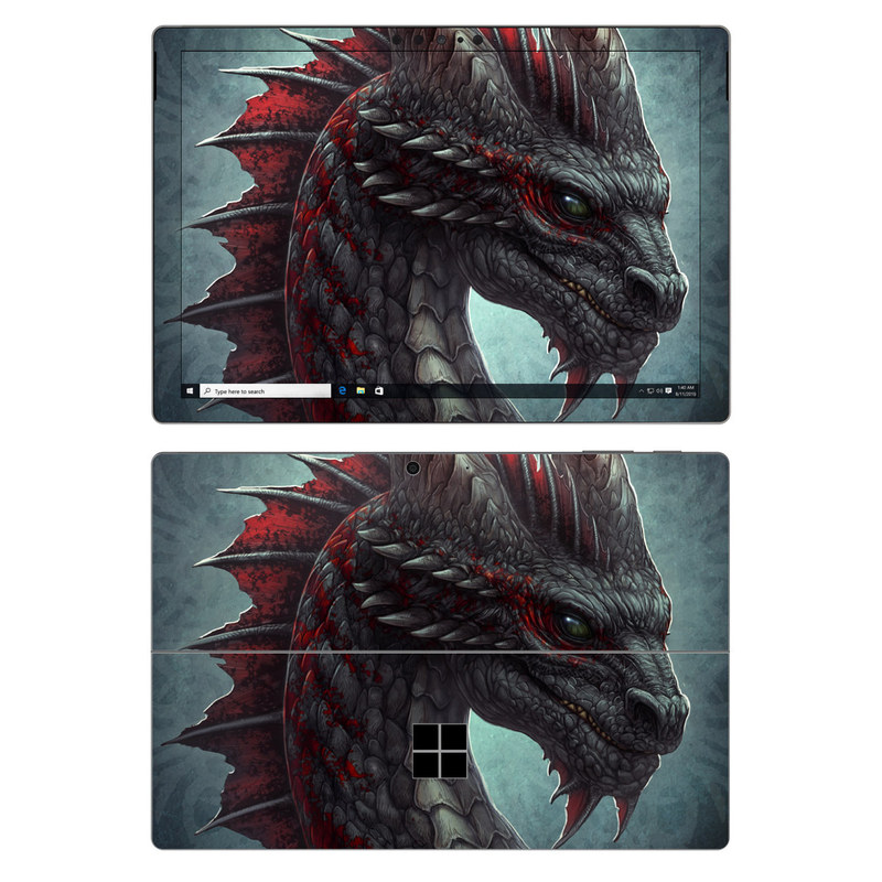 Microsoft Surface Pro 7 Skin design of Dragon, Fictional character, Mythical creature, Demon, Cg artwork, Illustration, Green dragon, Supernatural creature, Cryptid with red, gray, blue colors