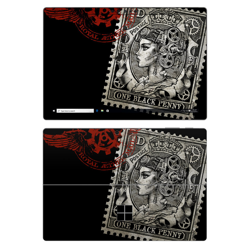 Microsoft Surface Pro 7 Skin design of Font, Postage stamp, Illustration, Drawing, Art with black, gray, red colors