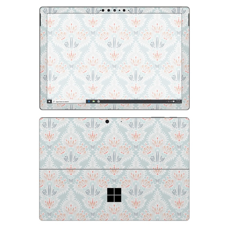 Microsoft Surface Pro 7 Skin design of Pattern, Aqua, Line, Design, Textile, Wrapping paper, Pedicel, Dahlia, Visual arts with blue, red, white colors