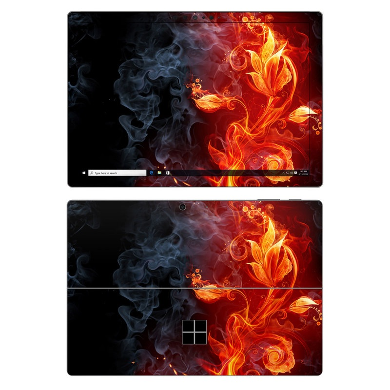 Microsoft Surface Pro 7 Skin design of Flame, Fire, Heat, Red, Orange, Fractal art, Graphic design, Geological phenomenon, Design, Organism with black, red, orange colors