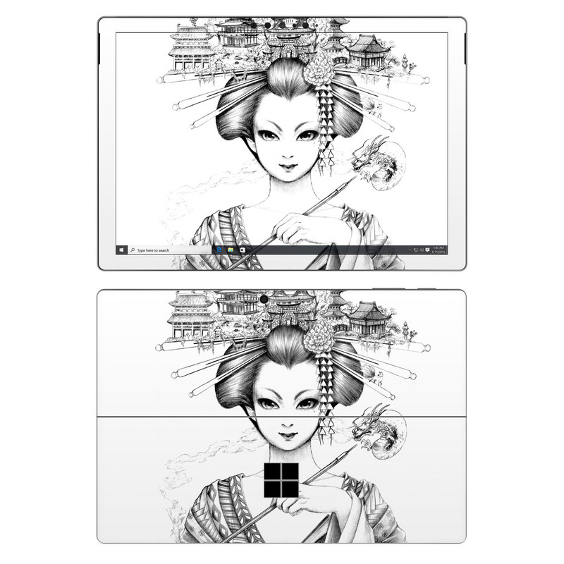 Microsoft Surface Pro 7 Skin design of Illustration, Head, Hairstyle, Line art, Art, Fashion illustration, Drawing, Coloring book, Black-and-white, Clip art with black, white, gray colors
