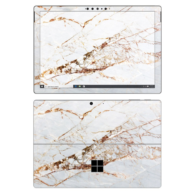 Microsoft Surface Pro 7 Skin design of White, Branch, Twig, Beige, Marble, Plant, Tile with white, gray, yellow colors