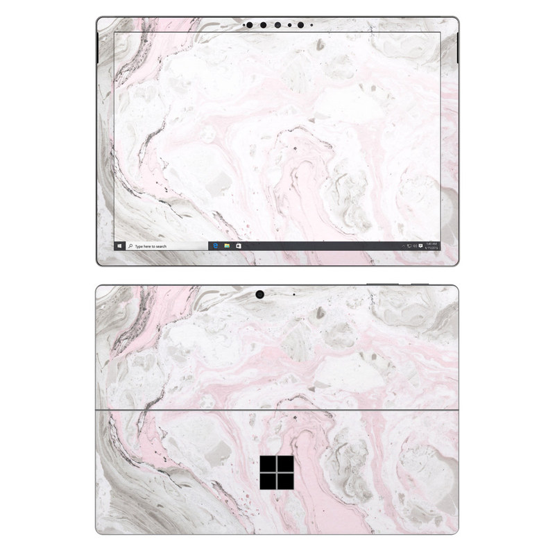 Microsoft Surface Pro 7 Skin design of White, Pink, Pattern, Illustration with pink, gray, white colors