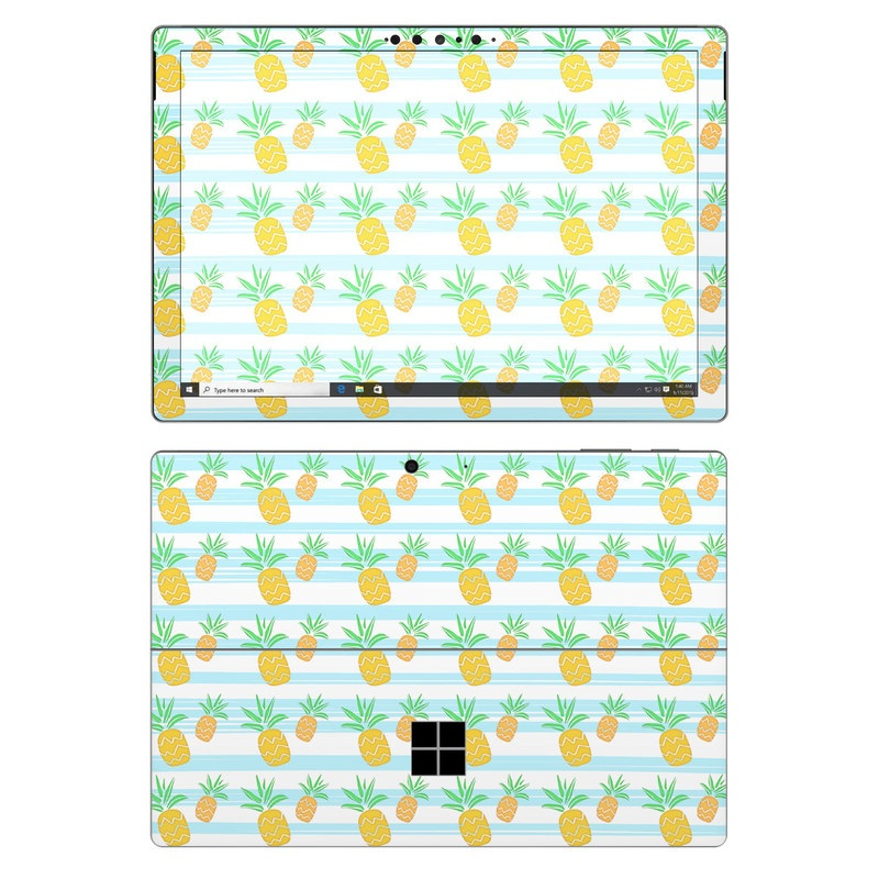 Microsoft Surface Pro 7 Skin design of Yellow, Green, Pattern, Textile, Wrapping paper, Line, Design with white, blue, yellow, green colors