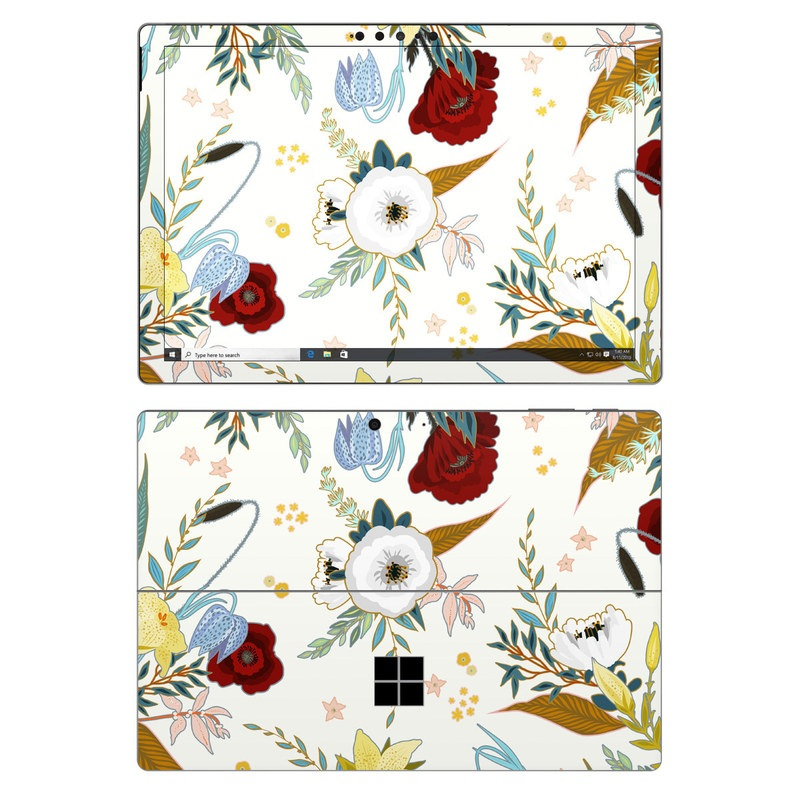Microsoft Surface Pro 7 Skin design of Floral design, Pattern, Wrapping paper, Botany, Design, Flower, Wallpaper, Plant, Clip art, Pedicel with white, blue, red, yellow, pink, orange colors