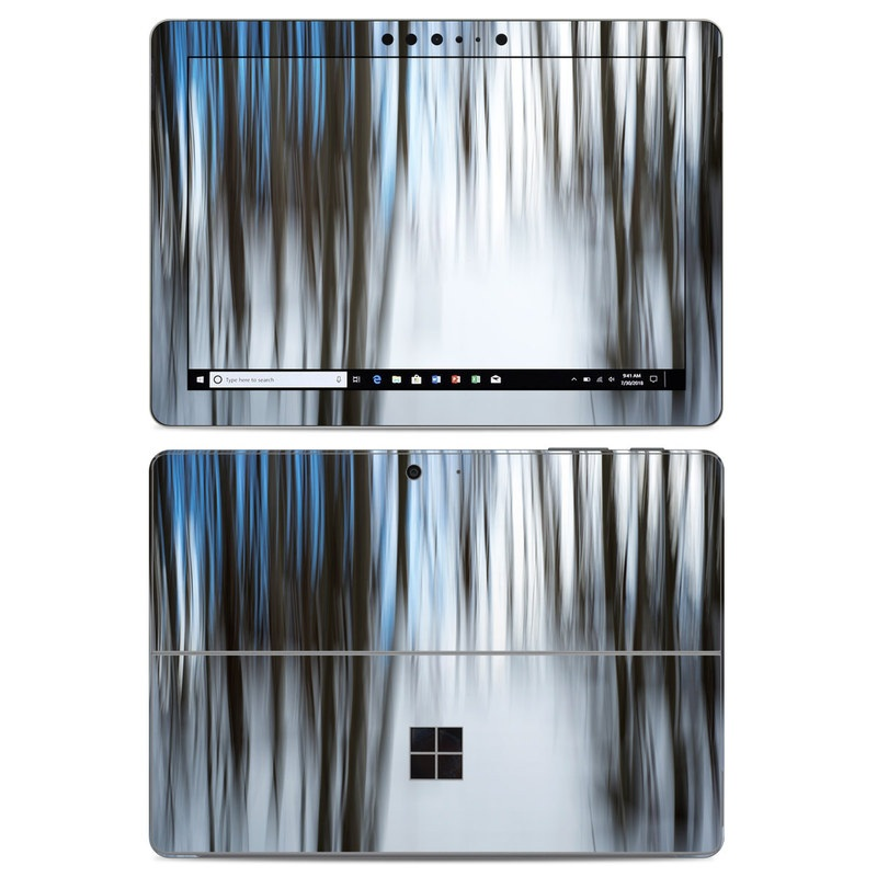 Microsoft Surface Go Skin design of Water, Blue, Natural environment, Tree, Forest, Line, Waterfall, Plant, Black-and-white, Reflection with black, white, blue colors
