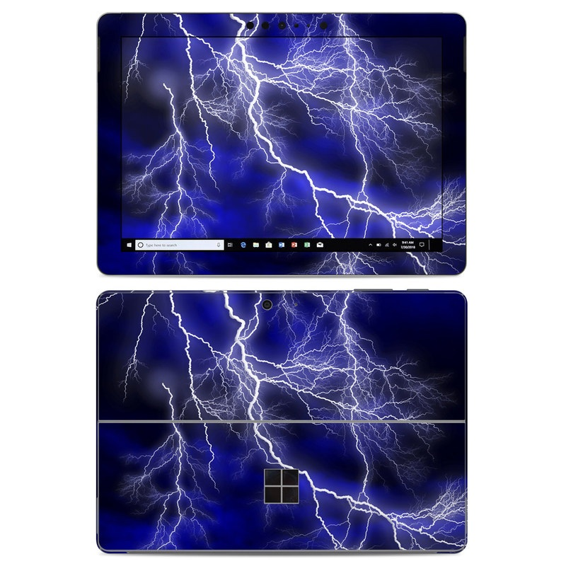 Microsoft Surface Go Skin design of Thunder, Lightning, Thunderstorm, Sky, Nature, Electric blue, Atmosphere, Daytime, Blue, Atmospheric phenomenon with blue, black, white colors