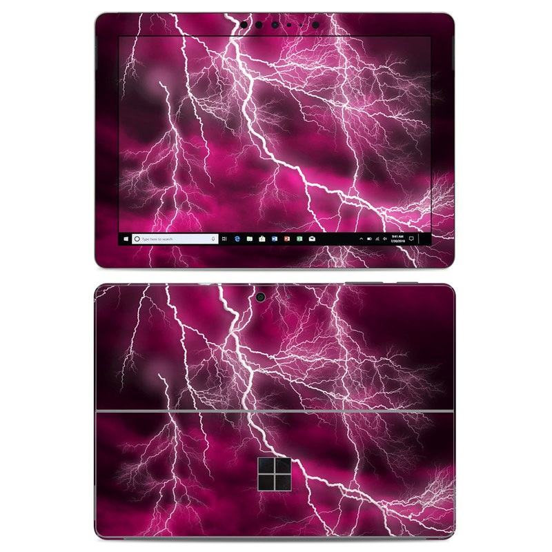 Microsoft Surface Go Skin design of Thunder, Lightning, Thunderstorm, Sky, Nature, Purple, Red, Atmosphere, Violet, Pink with pink, black, white colors