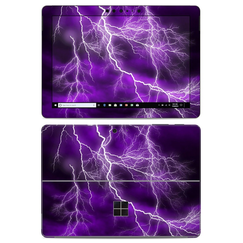 Microsoft Surface Go Skin design of Thunder, Lightning, Thunderstorm, Sky, Nature, Purple, Violet, Atmosphere, Storm, Electric blue with purple, black, white colors