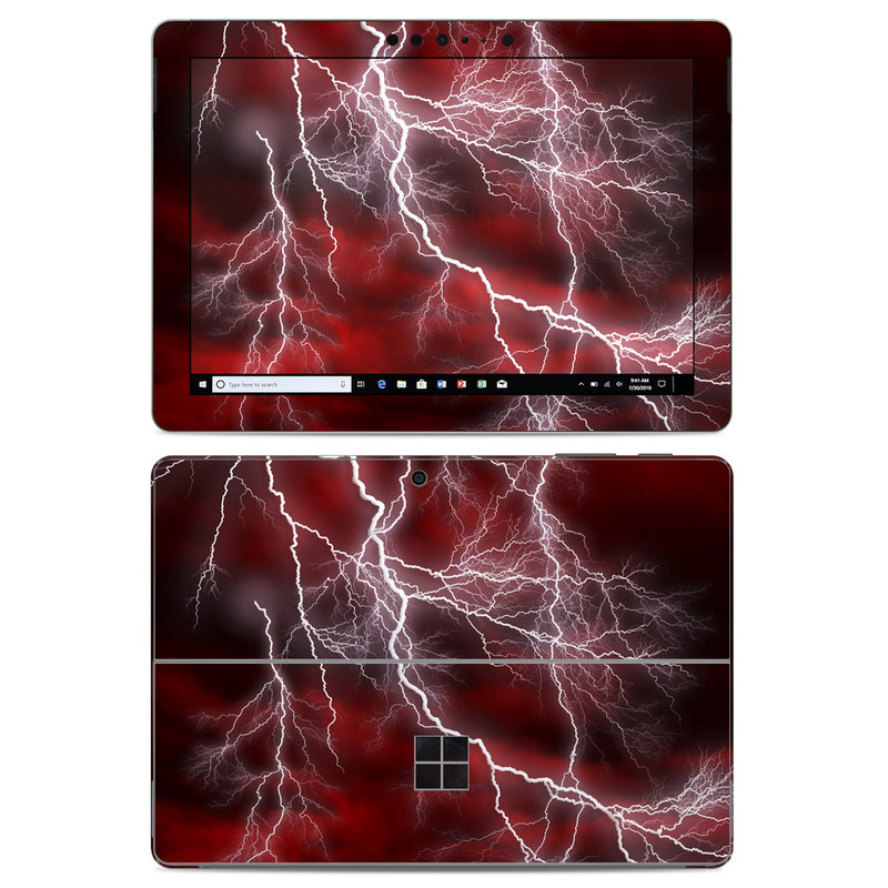 Microsoft Surface Go Skin design of Thunder, Thunderstorm, Lightning, Red, Nature, Sky, Atmosphere, Geological phenomenon, Lighting, Atmospheric phenomenon with red, black, white colors