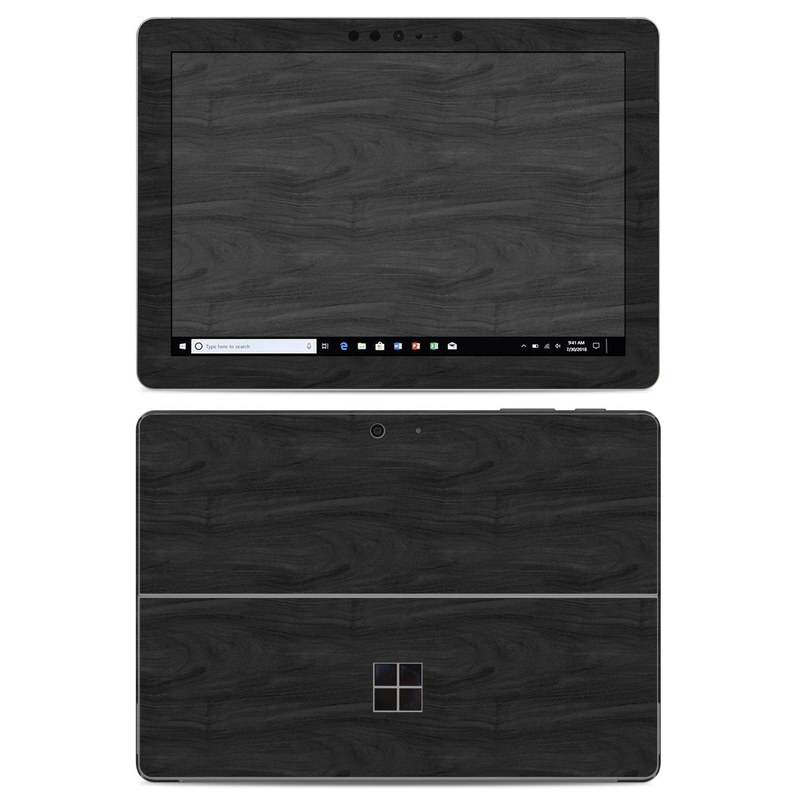 Microsoft Surface Go Skin design of Black, Brown, Wood, Grey, Flooring, Floor, Laminate flooring, Wood flooring with black colors