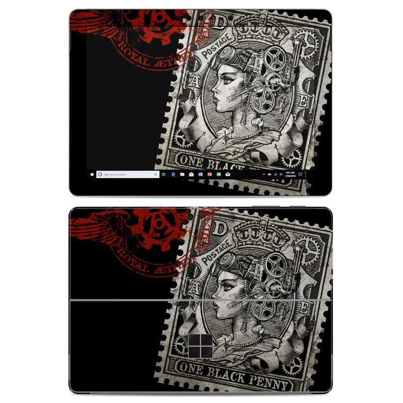 Microsoft Surface Go Skin design of Font, Postage stamp, Illustration, Drawing, Art with black, gray, red colors