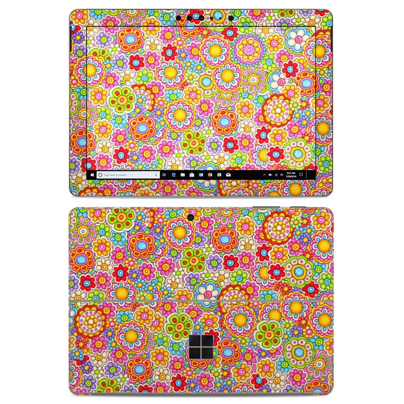 Microsoft Surface Go Skin design of Pattern, Design, Textile, Visual arts with pink, red, orange, yellow, green, blue, purple colors