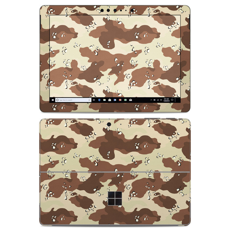 Microsoft Surface Go Skin design of Military camouflage, Brown, Pattern, Design, Camouflage, Textile, Beige, Illustration, Uniform, Metal with gray, red, black, green colors