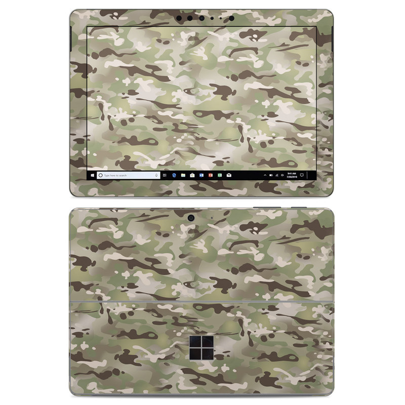 Microsoft Surface Go Skin design of Military camouflage, Camouflage, Pattern, Clothing, Uniform, Design, Military uniform, Bed sheet with gray, green, black, red colors