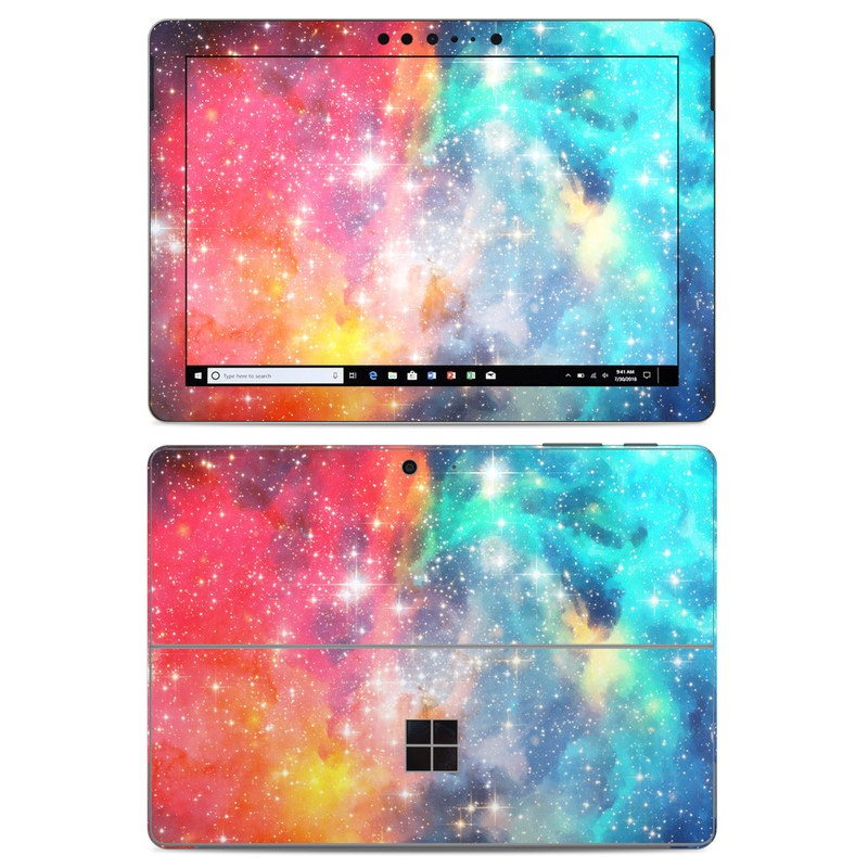 Microsoft Surface Go Skin design of Nebula, Sky, Astronomical object, Outer space, Atmosphere, Universe, Space, Galaxy, Celestial event, Star with white, black, red, orange, yellow, blue colors
