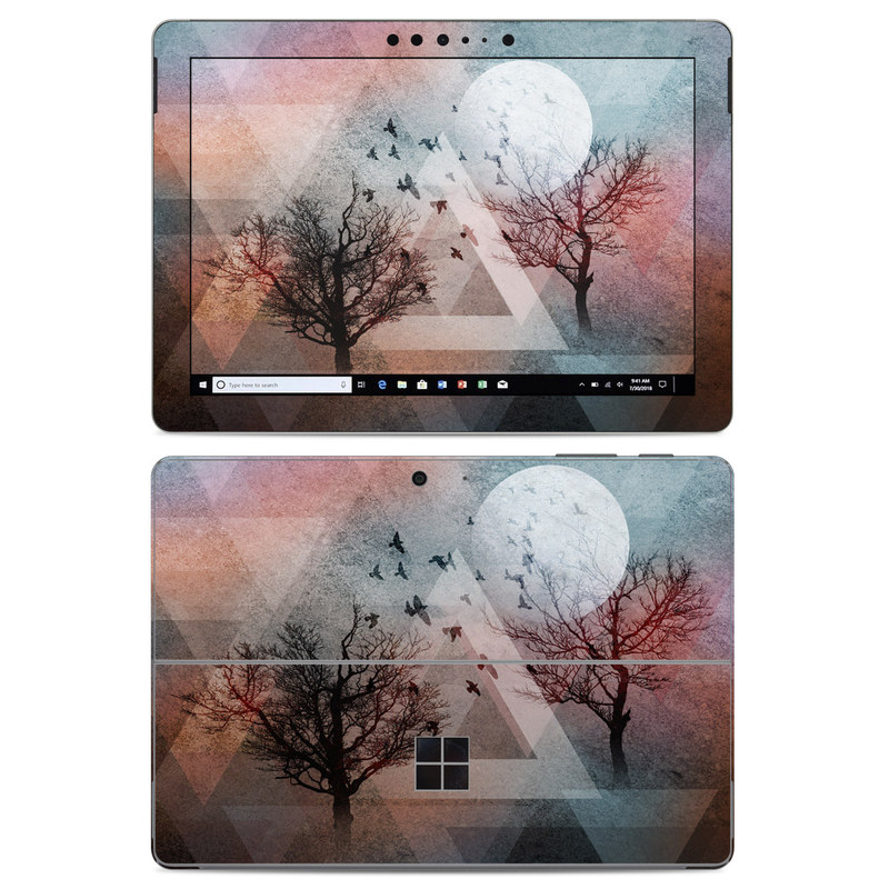 Microsoft Surface Go Skin design of Sky, Tree, Red, Natural landscape, Branch, Watercolor paint, Painting, Visual arts, Art, Illustration with gray, black, red, blue, green colors