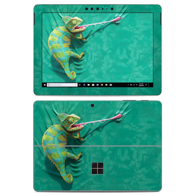 Microsoft Surface Go Skin design of Green, Fish, Tail, Chameleon with blue, black, green, gray colors