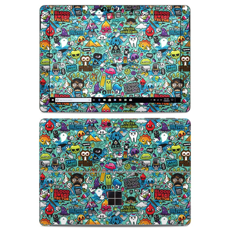 Microsoft Surface Go Skin design of Cartoon, Art, Pattern, Design, Illustration, Visual arts, Doodle, Psychedelic art with black, blue, gray, red, green colors