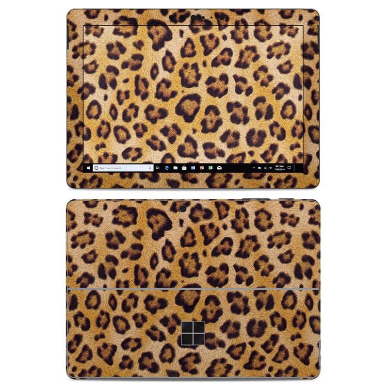 Microsoft Surface Go Skin design of Pattern, Felidae, Fur, Brown, Design, Terrestrial animal, Close-up, Big cats, African leopard, Organism with orange, black colors