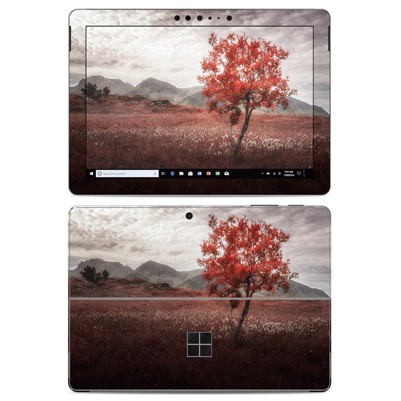 Microsoft Surface Go Skin design of Natural landscape, Nature, Tree, Sky, Red, Natural environment, Atmospheric phenomenon, Leaf, Cloud, Woody plant with black, gray, red colors