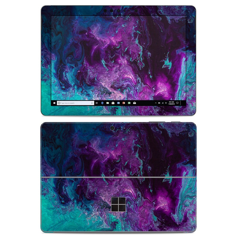 Microsoft Surface Go Skin design of Blue, Purple, Violet, Water, Turquoise, Aqua, Pink, Magenta, Teal, Electric blue with blue, purple, black colors