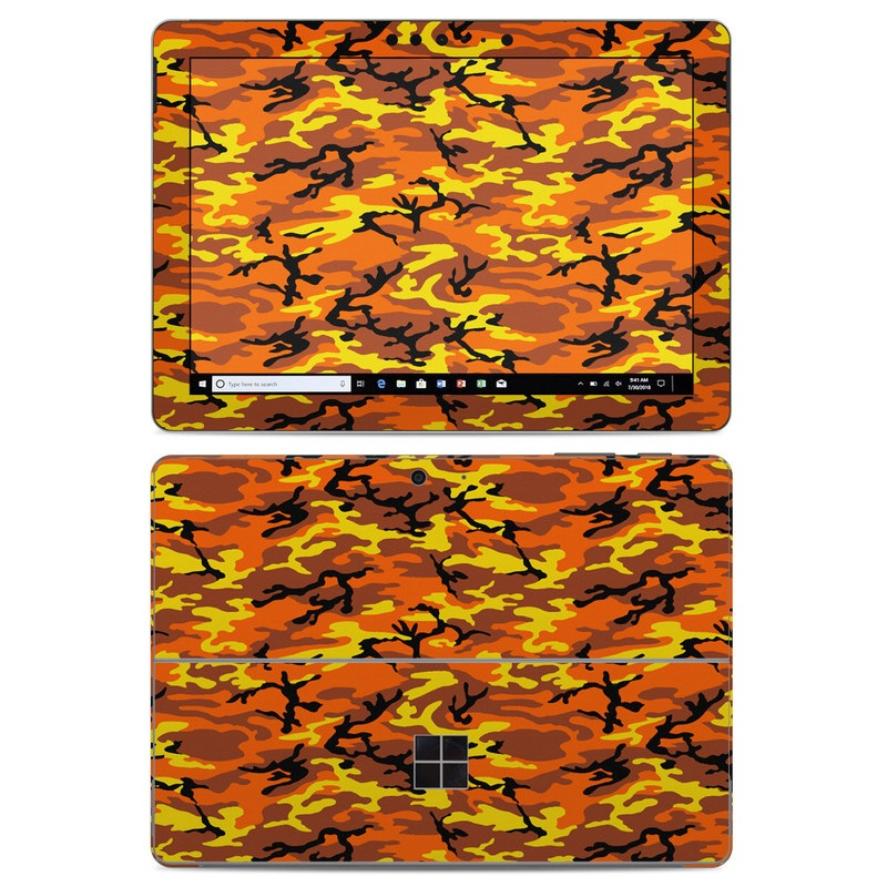 Microsoft Surface Go Skin design of Military camouflage, Orange, Pattern, Camouflage, Yellow, Brown, Uniform, Design, Tree, Wildlife with red, green, black colors